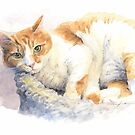 cat in cat-bed watercolor by Mike Theuer