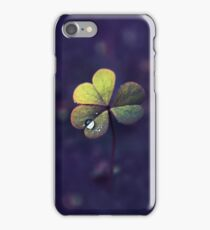 Dew Drop on Clover Like Oxalis Macro. St Patrick's Day iPhone Case/Skin
