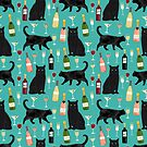 Black cat wine champagne cocktails cat breeds cat lover pattern art print by PetFriendly by PetFriendly