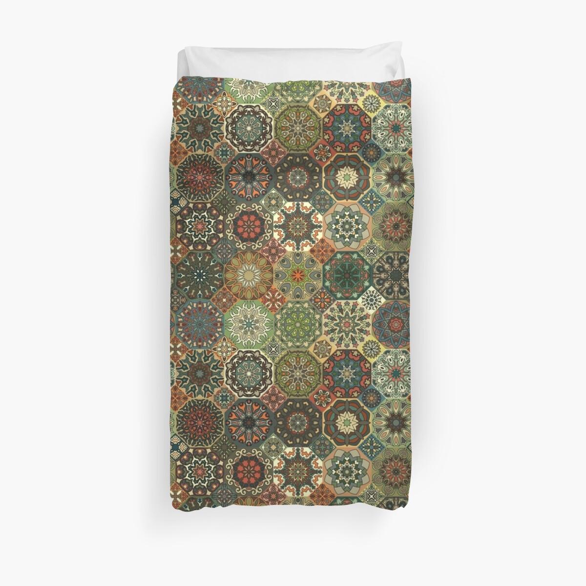 Vintage patchwork with floral mandala elements Duvet Cover