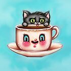 Cute Cat & Creepy Coffee Cup by sarahmwall
