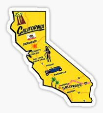California Tourist Map Sticker