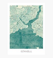 Istanbul Map Blue Vintage Photographic Print