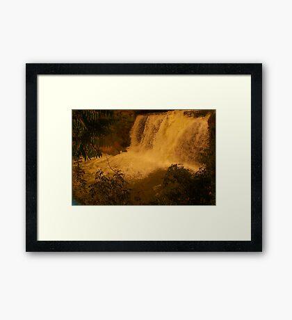 Medina Falls,  Medina, NY Starr1949 redbubble community photo photography art amber sun water falls waterfalls  Framed Print