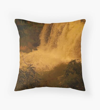 Medina Falls,  Medina, NY Starr1949 redbubble community photo photography art amber sun water falls waterfalls  Throw Pillow