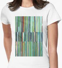 Green Etchnic Scandinavian Vertical Line Womens Fitted T-Shirt
