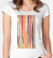 Abstract Vertical brush in MultiColor Women's Fitted Scoop T-Shirt