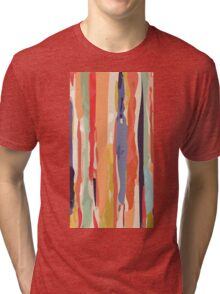 Abstract Vertical brush in MultiColor Tri-blend T-Shirt