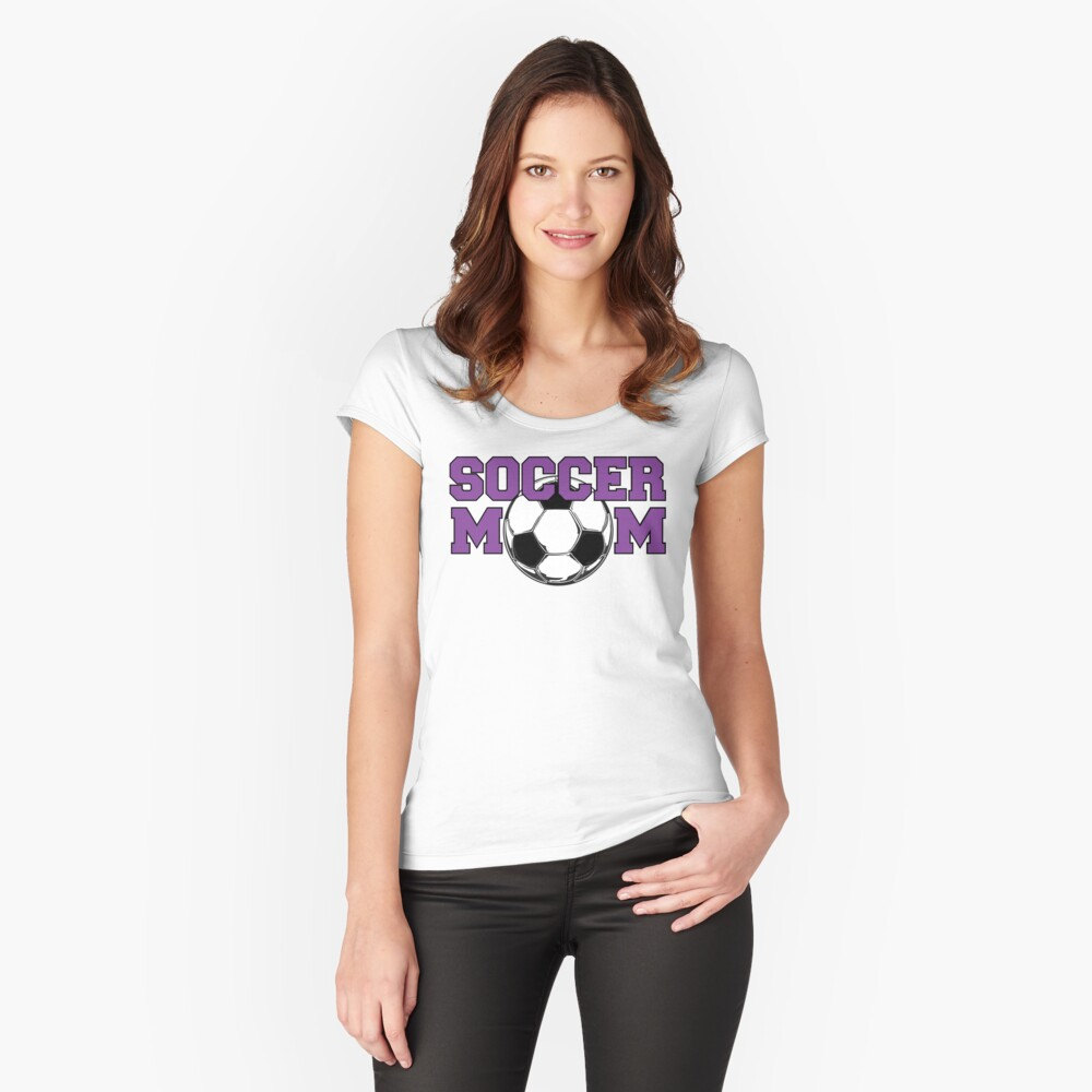 'Soccer Mom' in Purple Women's Fitted Scoop T-Shirt Front