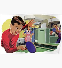 Retro Table Tennis Family Poster
