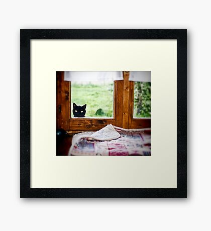 """""""Wondering what's SHE doing IN there... Better investigate"""" Framed Print"""