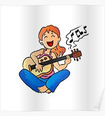 girl playing guitar cartoon Poster