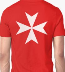 MALTA, Maltese, Amalfi Cross, Maltese cross, Knights Hospitaller, WHITE on RED T-Shirt