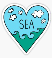 I love the sea! ocean, surfing, summer, holidays, heart,  Sticker