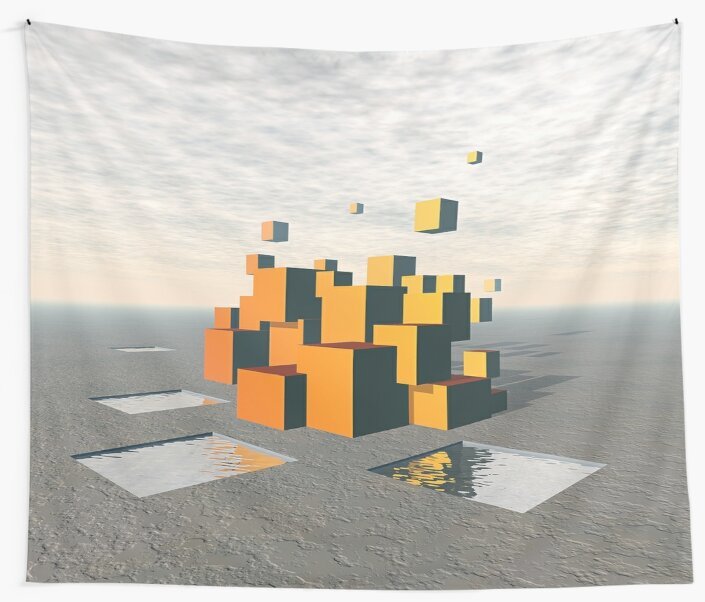 Surreal Floating Cubes by Phil Perkins
