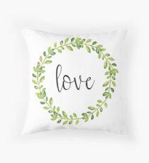 Farmhouse Style Love Wreath Throw Pillow