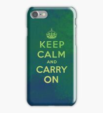 Keep Calm and Carry One Grunge Green Background iPhone Case/Skin