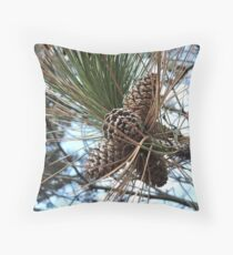 Pine tree with pine cones - Photography Throw Pillow