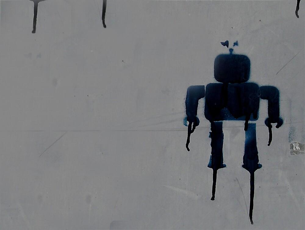 robot on wall by bignastyape
