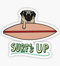 Surf's Up Pug Sticker