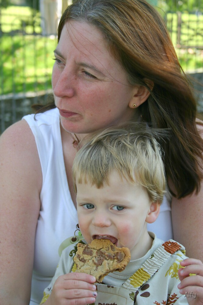 My wife and son by Alfy