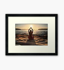 Yoga, sun worshipper, sun aura Framed Print