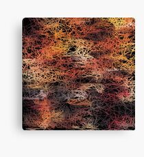 psychedelic camouflage sketching abstract pattern in brown orange and black Canvas Print