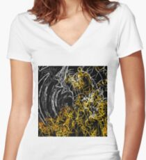 psychedelic sketching line pattern abstract in yellow black and white Women's Fitted V-Neck T-Shirt