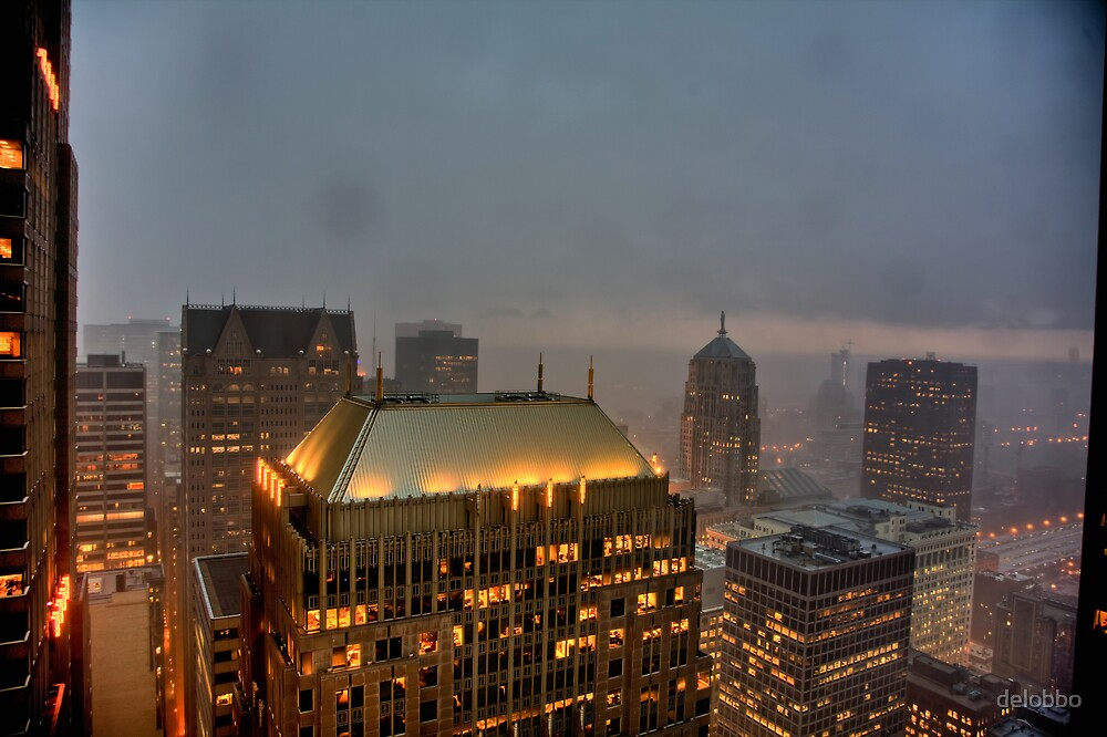 Stormy night - Looking Southwest from the Chicago Loop by delobbo