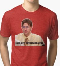 Camiseta de tejido mixto Jim Halpert - Osos, remolachas, battlestar galactica