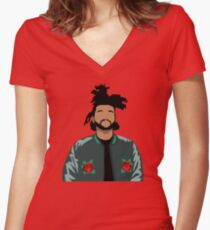 Weeknd Roses Women's Fitted V-Neck T-Shirt
