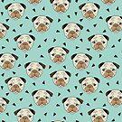 Pugs - Mint Hintergrund von Andrea Lauren von Andrea Lauren