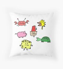 Inquisitive Chicken and Friends White (Duvet Cover pattern, etc) Throw Pillow