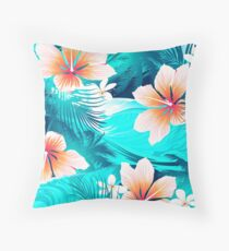 Hibiscus flowers at the beach Throw Pillow