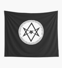 Aleister Crowley - DO WHAT THOU WILT SHALL BE THE WHOLE OF THE LAW - Occult - Thelema (White On Black) Wall Tapestry