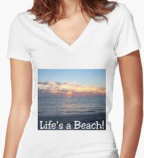 Life's A Beach Women's Fitted V-Neck T-Shirt