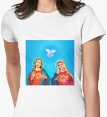 Jesus Christ and the Virgin Mary Womens Fitted T-Shirt