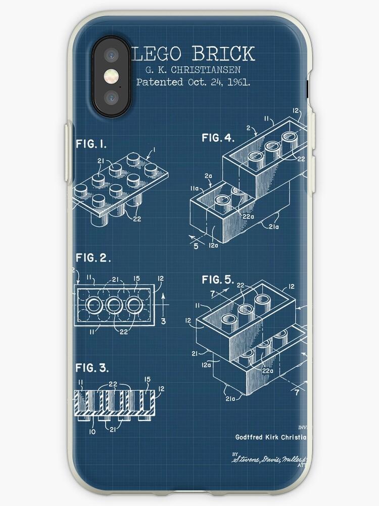 the latest 4b783 59f5f 'Lego Brick Blueprint' iPhone Case by muharko