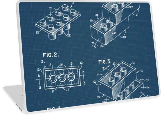 Lego brick blueprint laptop skins by muharko redbubble lego brick blueprint by muharko malvernweather Images