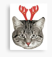 Red Nose Reindeer Cat! Canvas Print