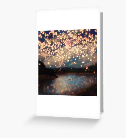 Wish Lanterns for Love Greeting Card