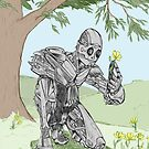 Robot smelling the flowers by Colin Wells