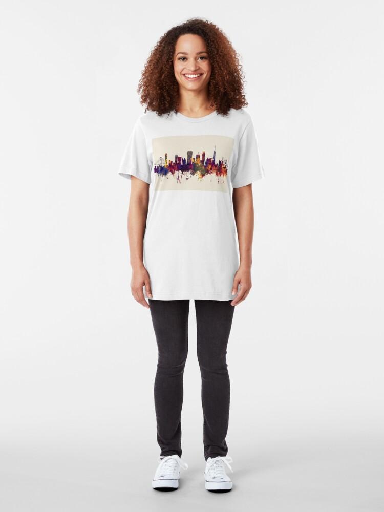 Alternative Ansicht von Skyline von San Francisco Slim Fit T-Shirt