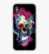 Floral Skull Blue iPhone Case