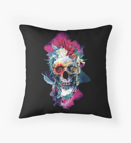 Floral Skull Blue Throw Pillow