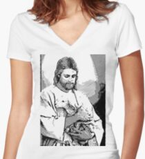 Jesus Christ in Black White Sketch Women's Fitted V-Neck T-Shirt