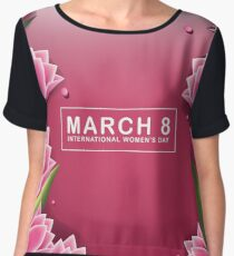 March 8 International Womens Day pink background with pretty tulips Chiffon Top
