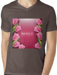 March 8 International Womens Day pink background with pretty tulips Mens V-Neck T-Shirt