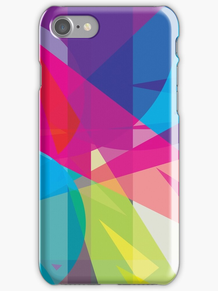 blue, pink  +  yellow / green - abstract case design by Boxzero