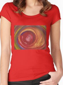 Earth Storm Watercolour Women's Fitted Scoop T-Shirt
